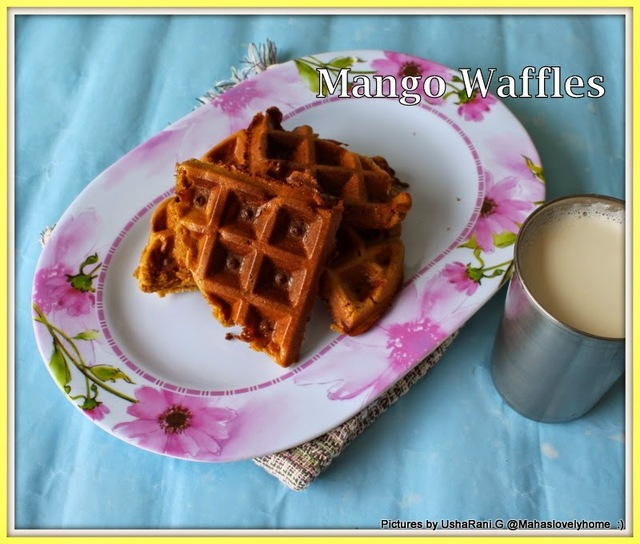Gluten free Wheat flour Mango Waffles | Quick and Easy Mango Waffles | Mango waffles using fresh pulp | kids favorite mango waffles for Break fast  | How to make mango waffles at home with step by step images
