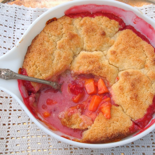 Fresh Peach Cobbler with a Biscuit Crust