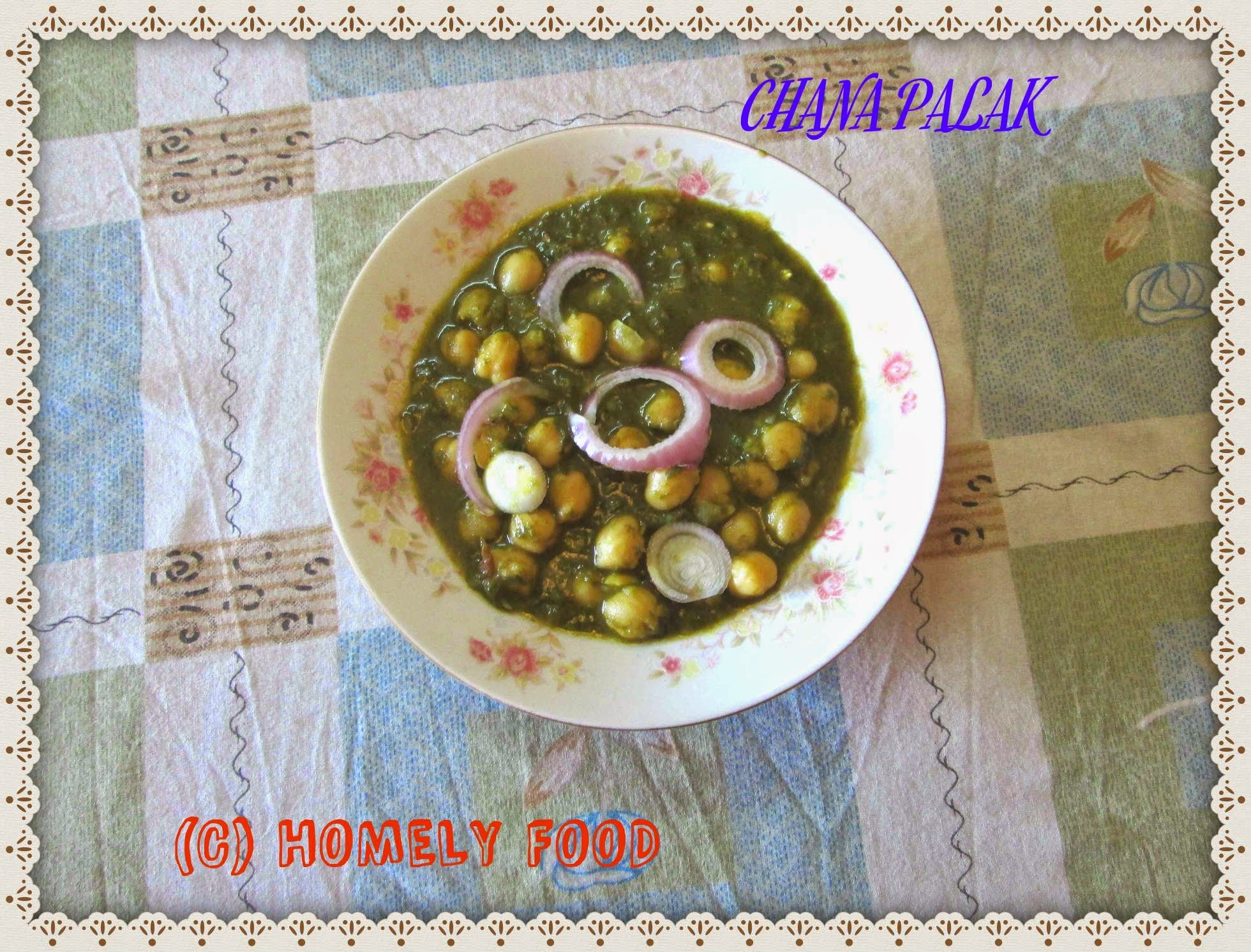 Chana palak/ chick peas with spinach gravy