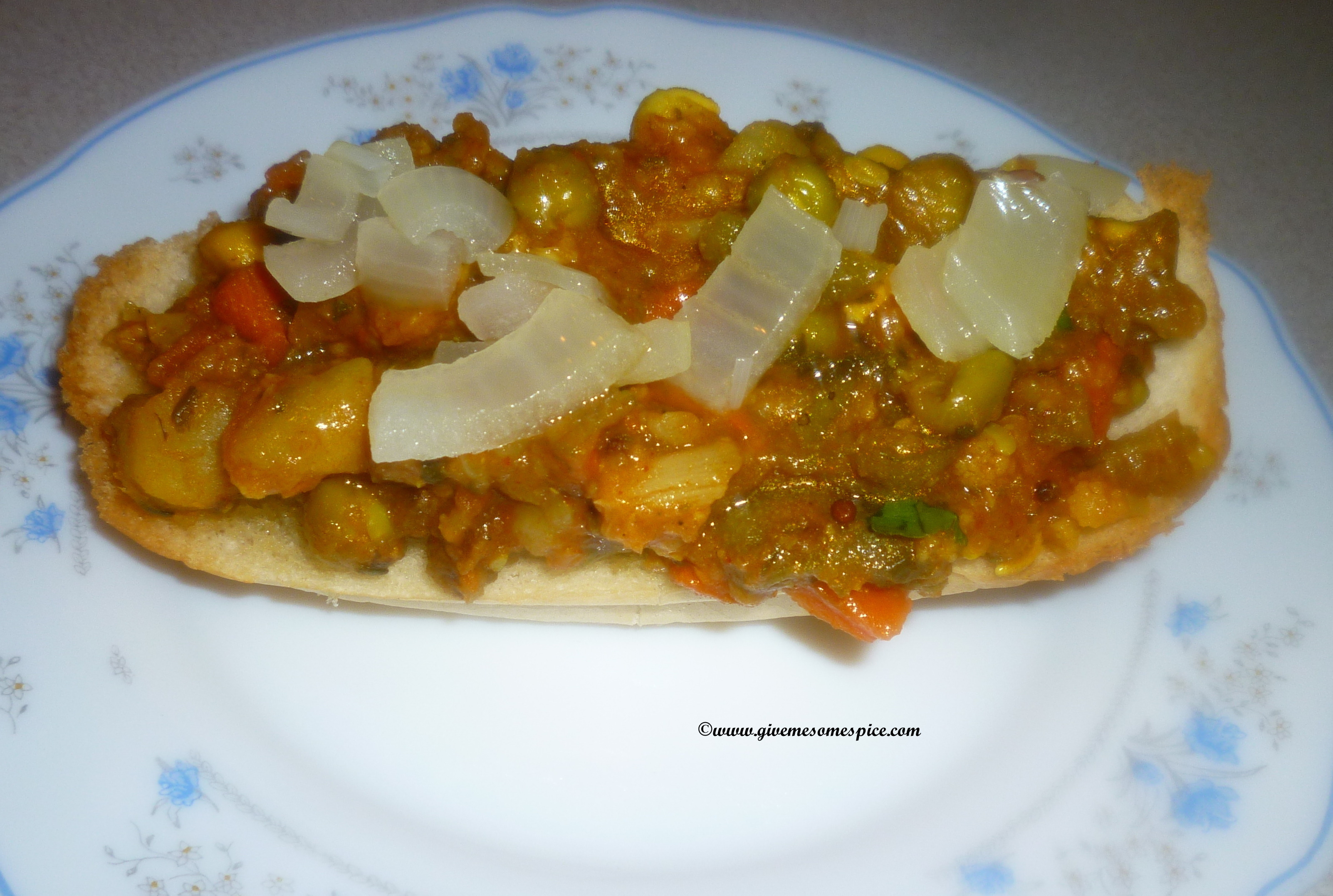 Pav Bhaji (Spicy blend of vegetables  served with bread)