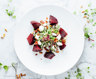 Warm Beet Salad with Microgreens, Bacon and Goat Cheese