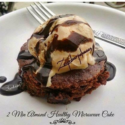 2mins Chocolate n Almonds Microwave Cake