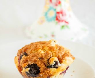 Homemade Blueberry Muffins with a Brown Sugar Topping