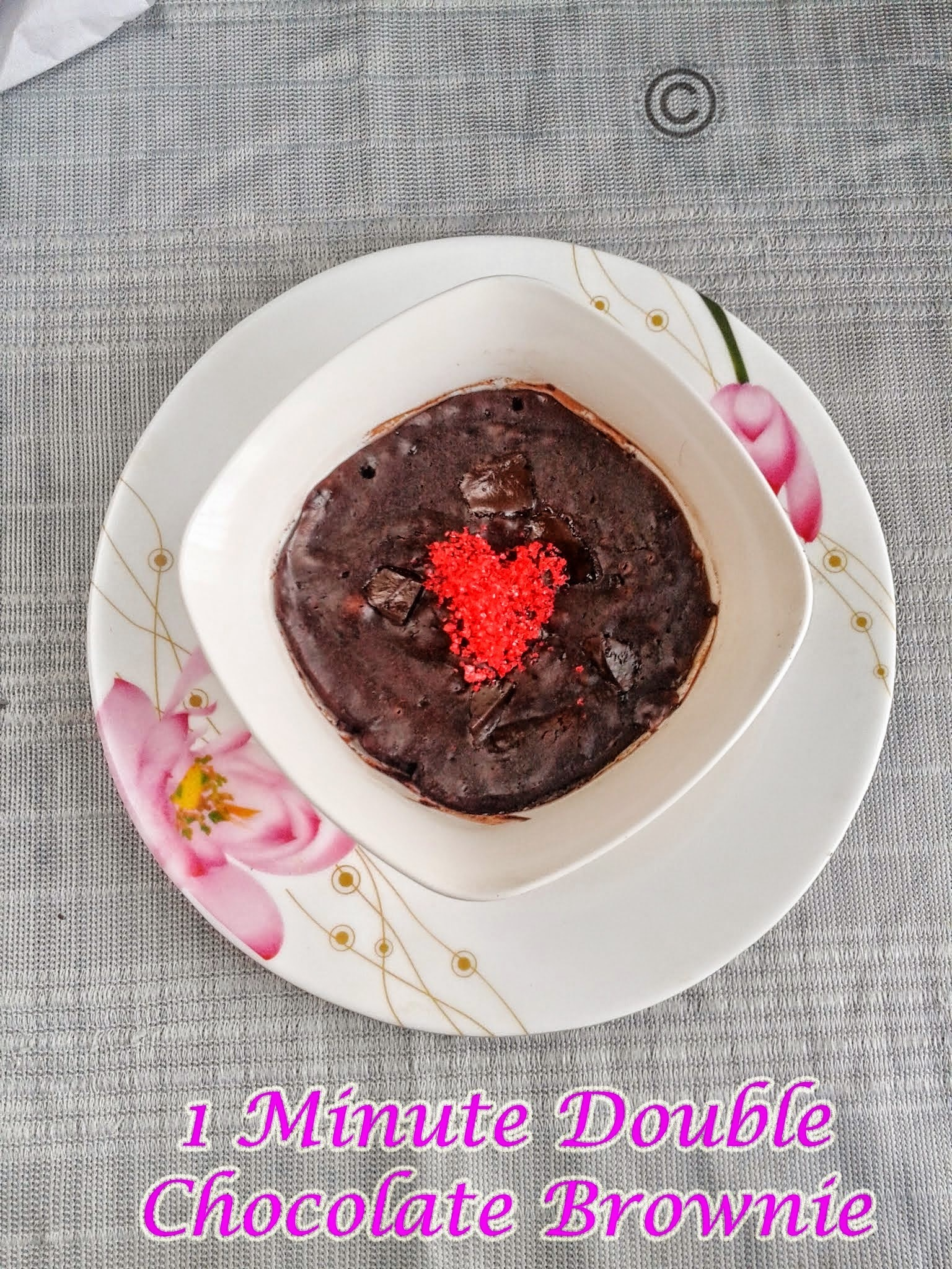 ONE MINUTE MICROWAVE DOUBLE CHOCOLATE BROWNIES I EGG-LESS ONE BOWL CHOCOLATE BROWNIE I VALENTINE'S DAY RECIPES