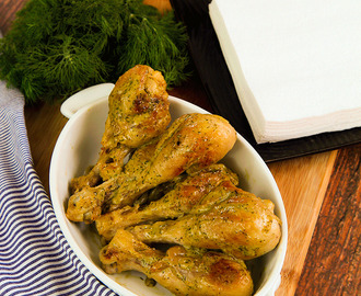 ROASTED CHICKEN DRUMSTICKS with dill and white wine sauce