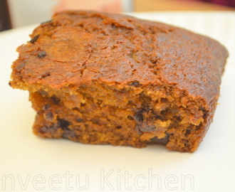 Eggless Pumpkin Choco Chip Cake