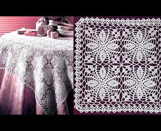 Crochet flower motif for Doily Tablecloth  Part 3  Border 1 - 3 round