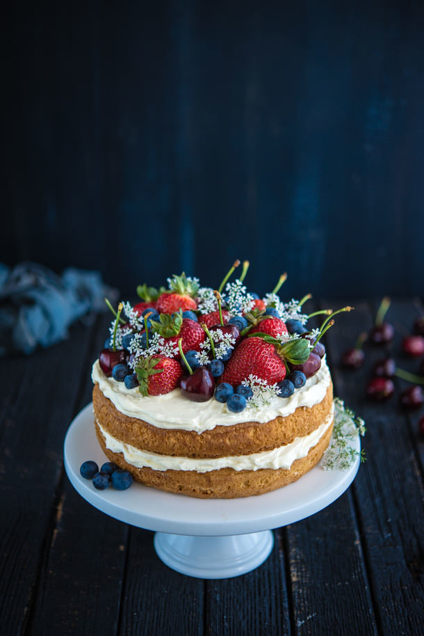 Sponge Cake with Berries and Cherries