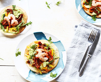 Healthy avocado shrimp tostada