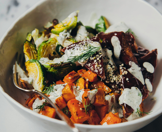 roasted winter bowl w/ BBQ tempeh + hemp seed ranch dressing