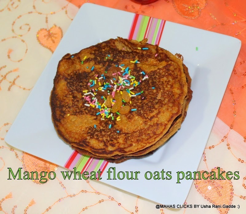 Eggless Wheat flour Mango Oats Pancakes | Quick and easy Mango Pancakes | Kids favorite Gluten free Mango Pancakes | How To Make Mango Pancakes Using Fresh Mango Pulp at Home