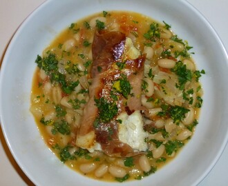 Prosciutto Wrapped Halibut on a Cannellini Stew topped with Gremolata Recipe