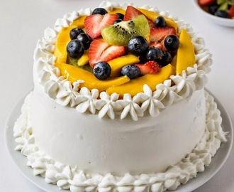 Vanilla Sponge Cake with Whipped Cream Frosting and Fresh Fruits - Birthday Cake
