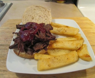 BBQ Buffalo Short Rib Sandwich w/ Baked Fries