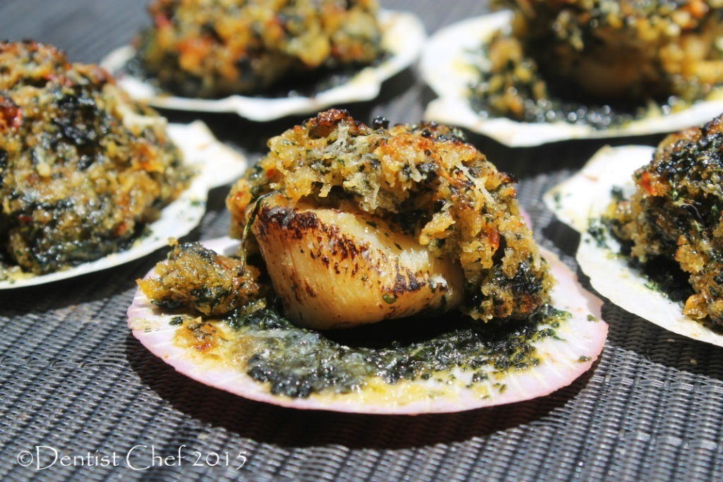 Recipe Scallops Rockefeller (Broiled Half Shell Scallop with Cheesy Spinach Herbs Crust & Spinach Puree)