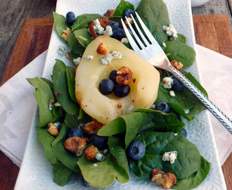 Blueberry Poached Pear Salad