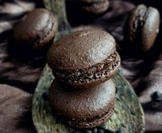 Dark Chocolate macarons with Chocolate coffee filling