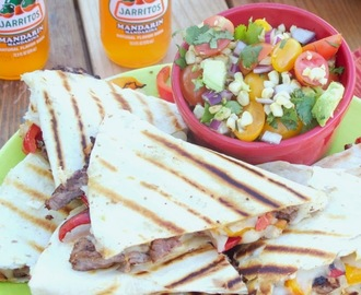 Carne Asada Fajita Quesadillas with Grilled Corn, Tomato and Avocado Salsa #CincodeMayo