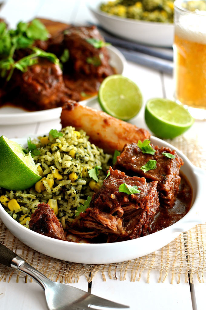 Fiery Fall Apart Mexican Beef Ribs with Green Mexican Rice