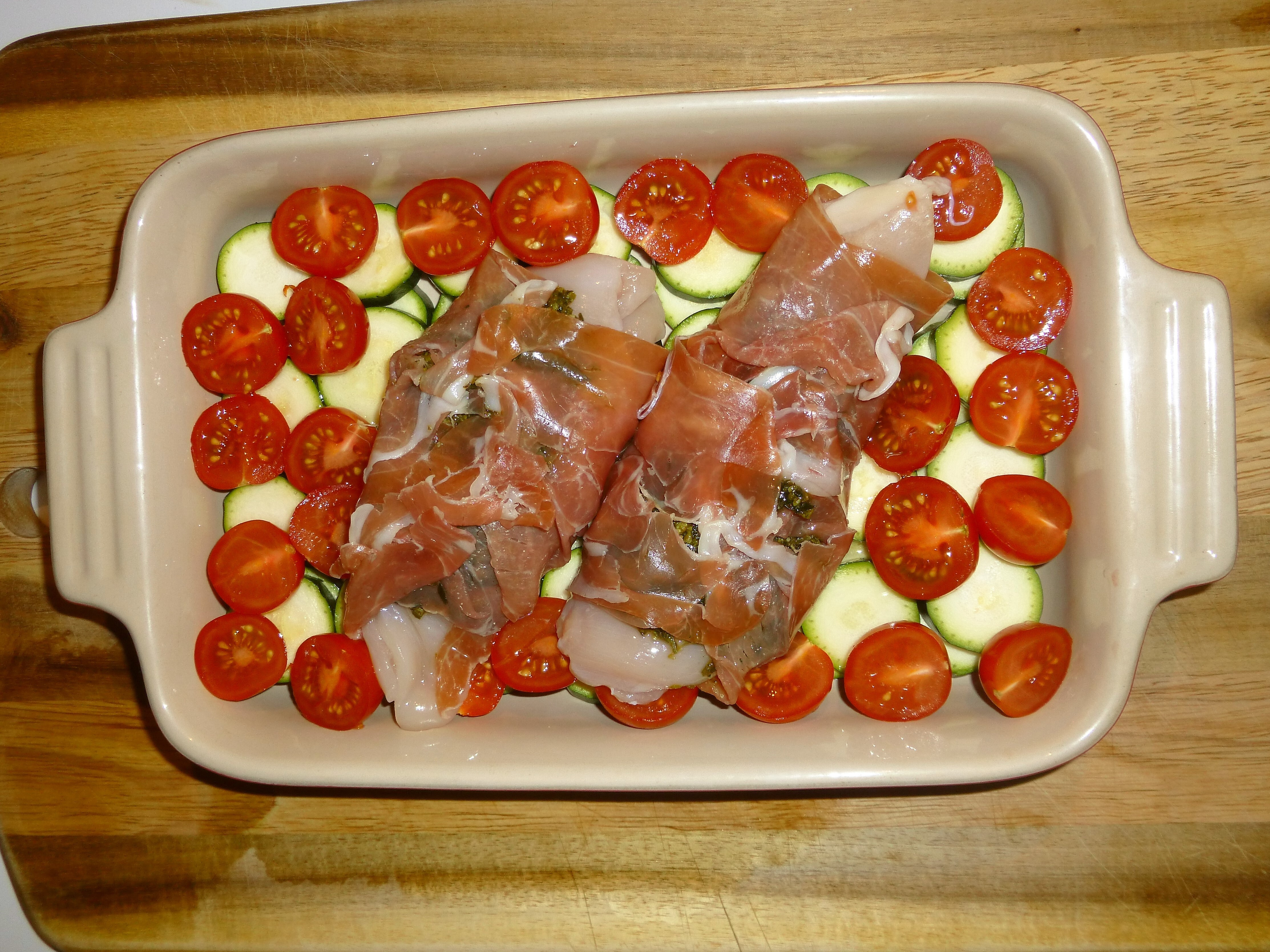 Proscioutto Wrapped Pesto Chicken with Courgettes and Tomatoes Recipe