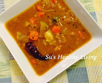 Sambhar  ( Mixed vegetable- lentil stew ) made easy!