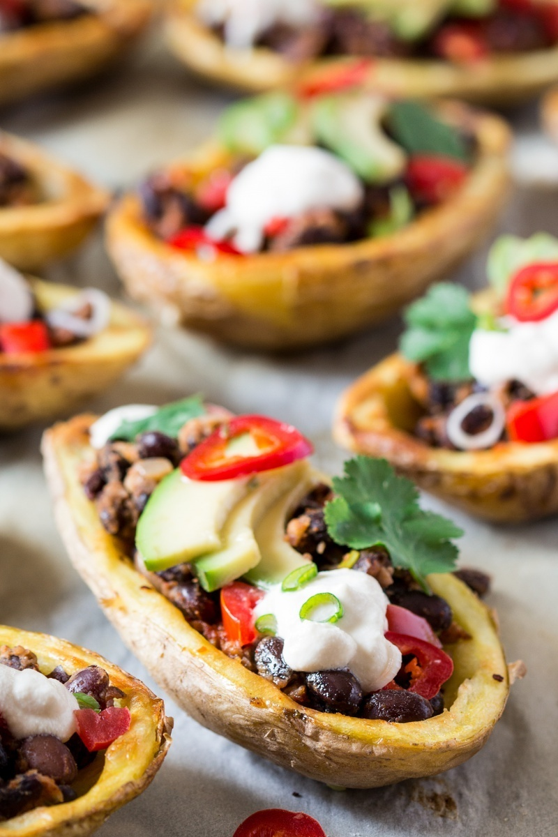 mexican potato skins baking tray top down