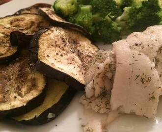 Fast Pan-Fried Tilapia and Roasted Eggplant