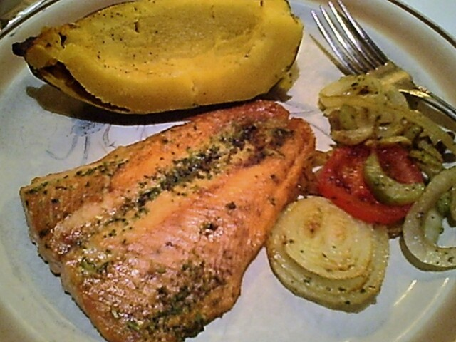 Broiled Salmon Dinner with Baked Acorn Squash and Sauteed Onions, Celery and Tomatoes
