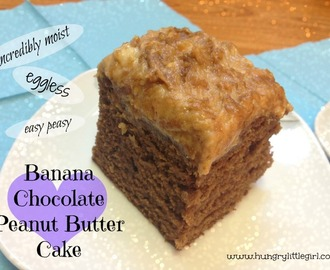 Eggless Chocolate Peanut Butter Banana Cake