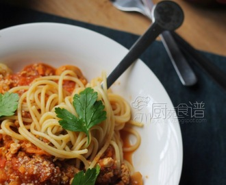 鸡肉碎酱意大利面 Spaghetti with chicken minced sauce