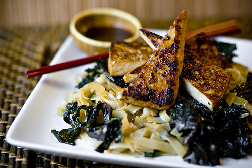 Pan Fried Tofu, Kale, and Stir-Fried Noodles