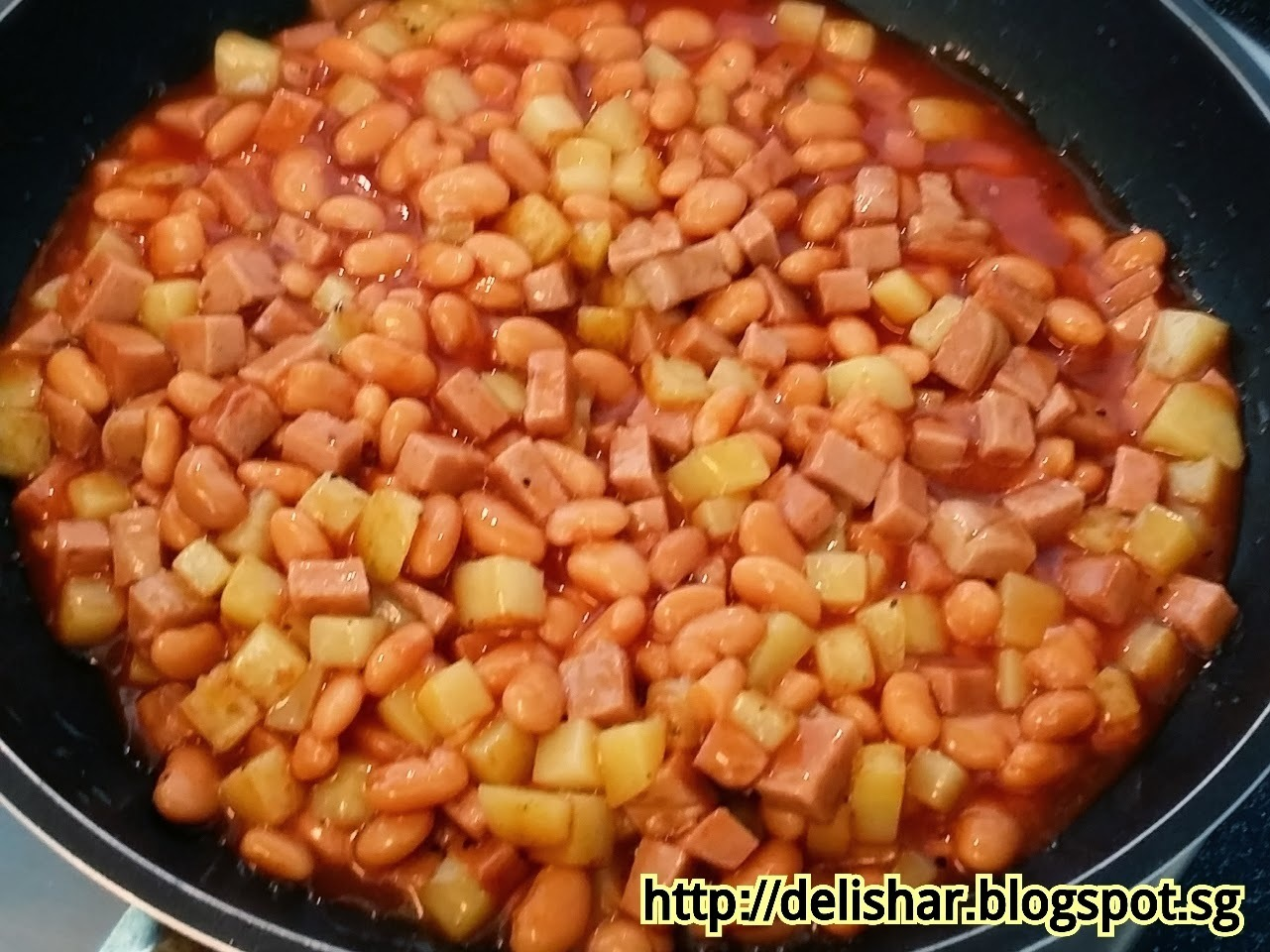 Vegetarian Ham, Potatoes, and Beans