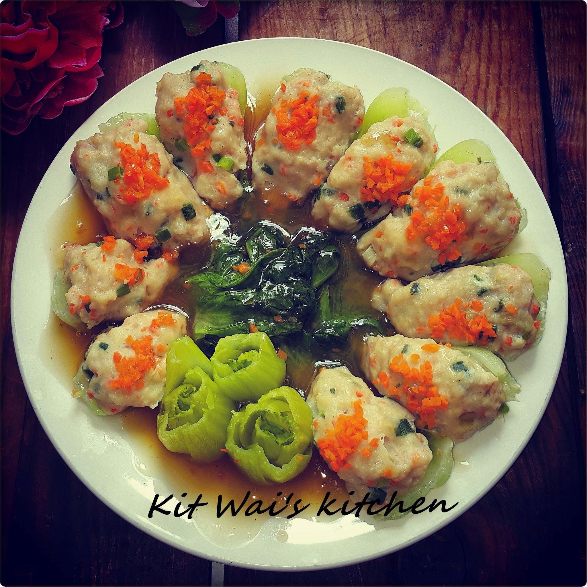 有余碧菊 ~ Wish-filled Jade Chrysanthemum  ( Steamed Baby Bok Choy with Fish Paste )