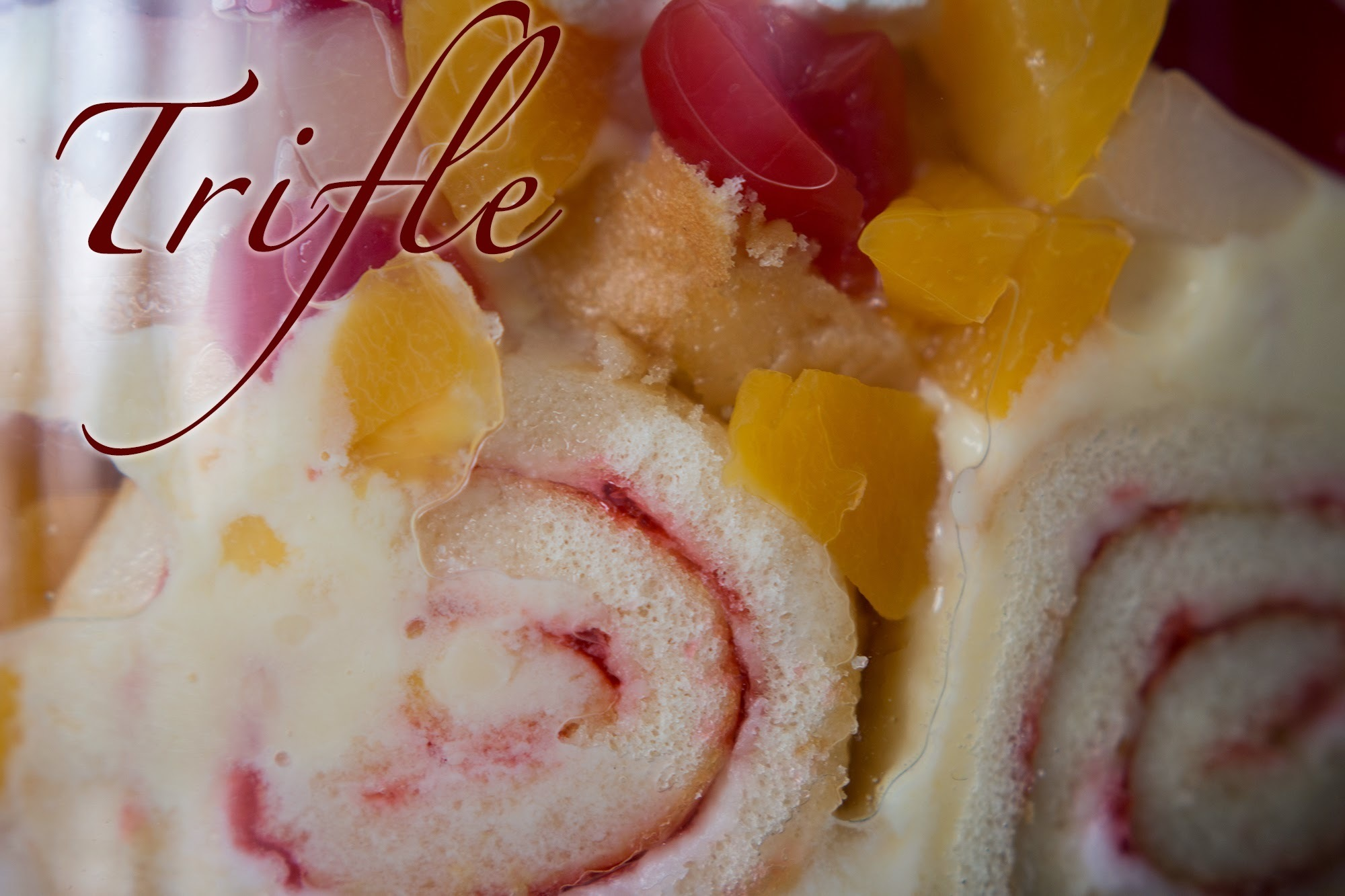 Trifle - Cake, Custard, Jelly cubes and fruit