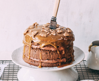 Chocolate Layer Cake with Salted Caramel and Sesame Snaps