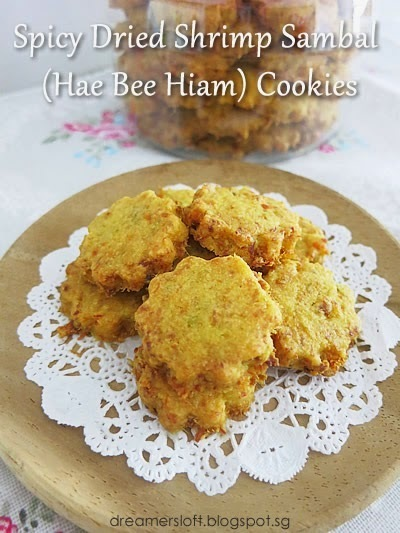 Spicy Dried Shrimp Sambal (Hae Bee Hiam) Cookies with homemade hae bee hiam