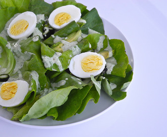 Basil Green Goddess Salad with Avocado and Egg