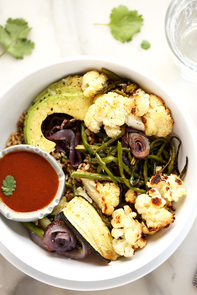 Roasted Vegetable Rainbow Bowl with Tangy BBQ Sauce