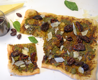 Pesto Pizza with Sun-Dried Tomato Pizza and Asiago Cheese