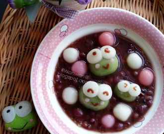 Keroppi造型红豆汤圆Keroppi Deco Tang Yuan With Red Bean Filling
