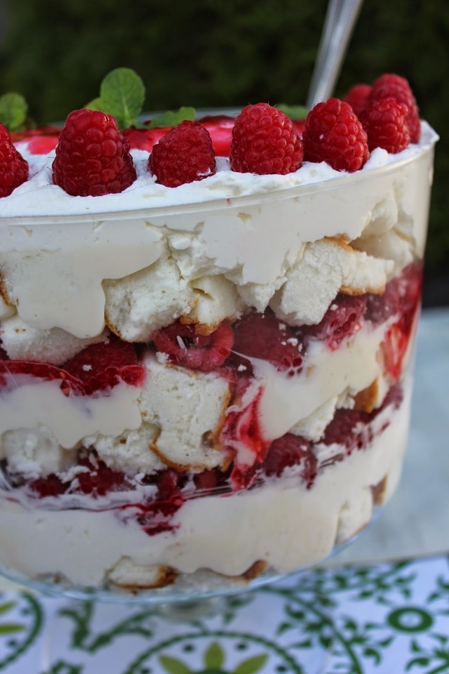 Raspberry Angel Food Cake Trifle