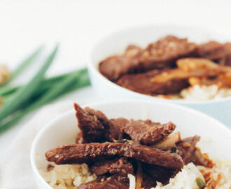 Korean Bulgogi with Shiitaki Mushroom Turnip Rice