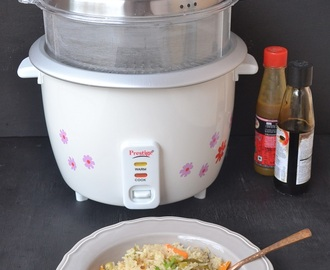 Vegetable Pulao Made Using TTK Prestige Delight Electric Rice Cooker
