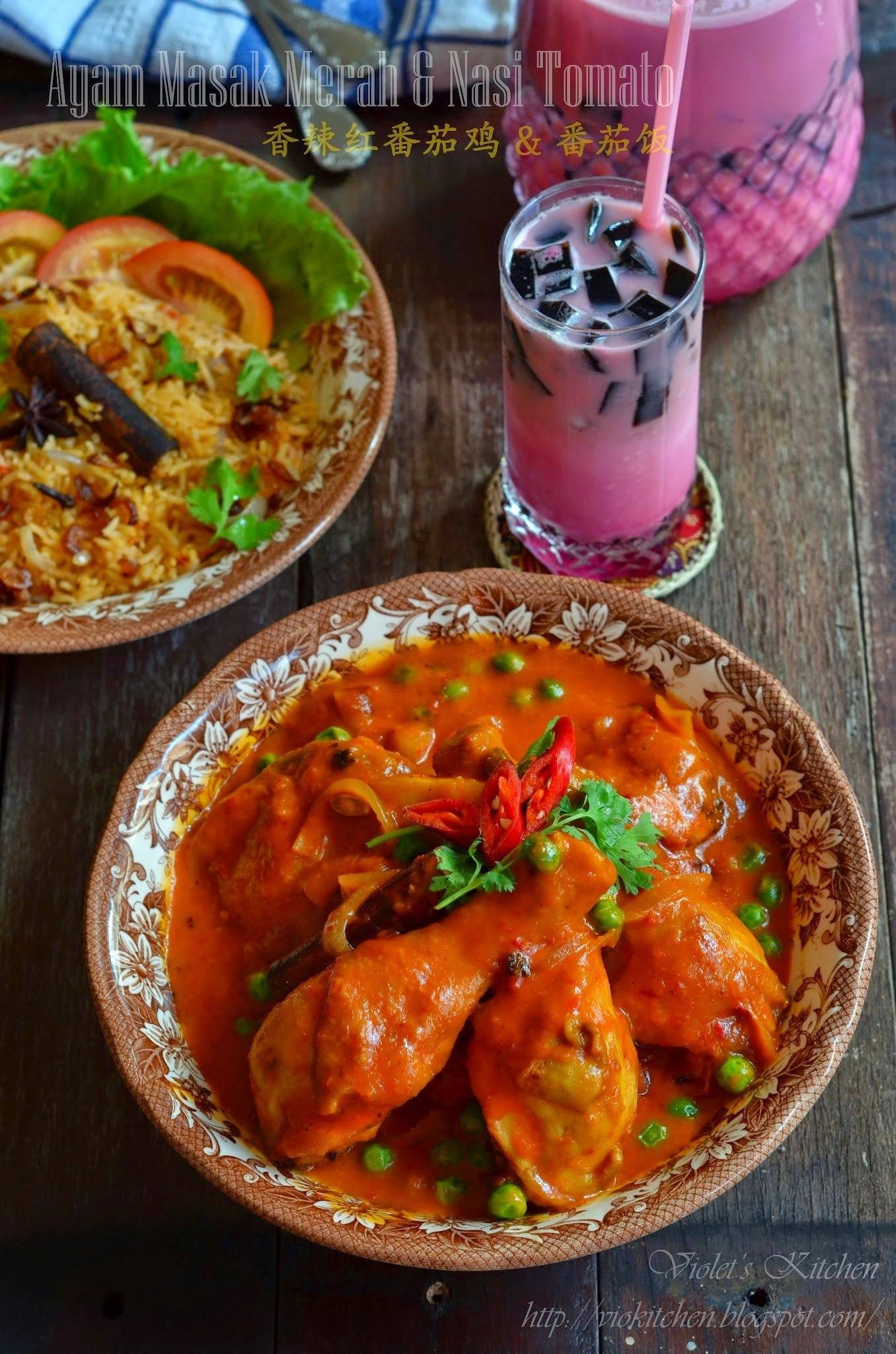 香辣红番茄鸡 & 番茄饭 Ayam Masak Merah & Nasi Tomato | Malay Red Cooked Chicken & Tomato Rice
