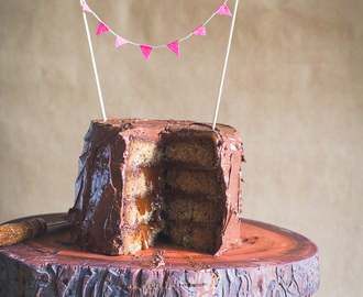 Banana Salted Caramel Layer Cake with Dark Chocolate Frosting