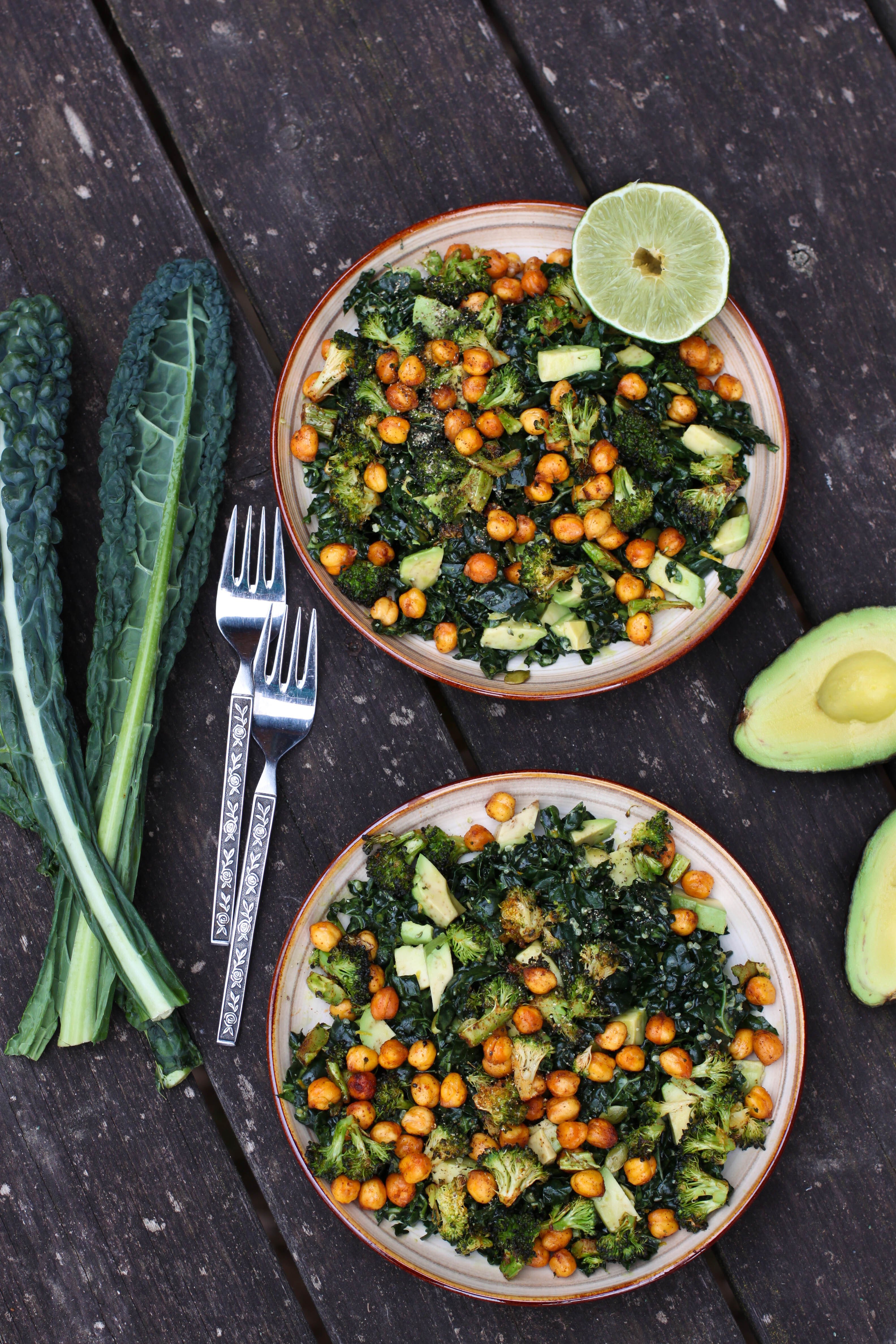 Kale & Avocado Salad with Roasted Chickpeas & Broccoli