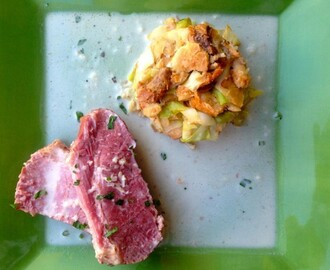 The Cranberries Inspire Soused Corned Beef In Horseradish Sauce with Cabbage Bread Pudding Recipe