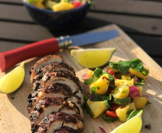 Jamaican jerk chicken with caramelised pineapple salsa