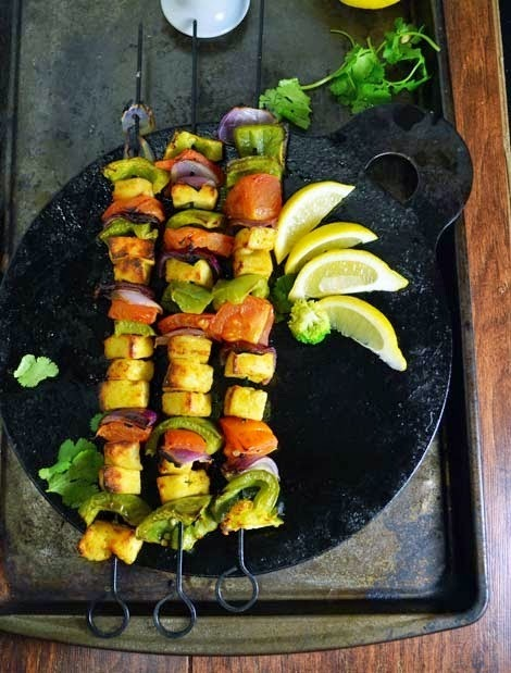 Tandoori Paneer Tikka, Baked Cottage Cheese with veggies