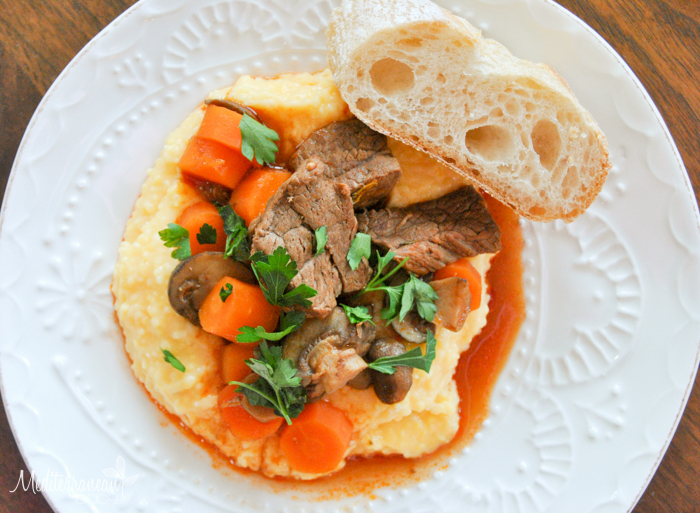 Guinness Beef Stew and Cheesy Grits